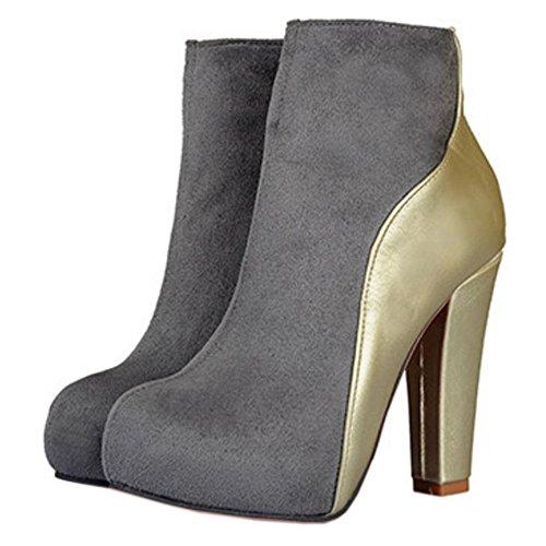 COOLCEPT Damen Mode Stiefel Zipper Grey