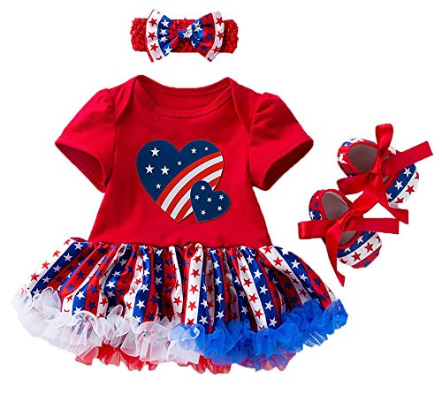 Coralup Baby Girl's 4th of July One-Piece Romper Dress+Headband+Shoes(National Flag,3-6 Months)