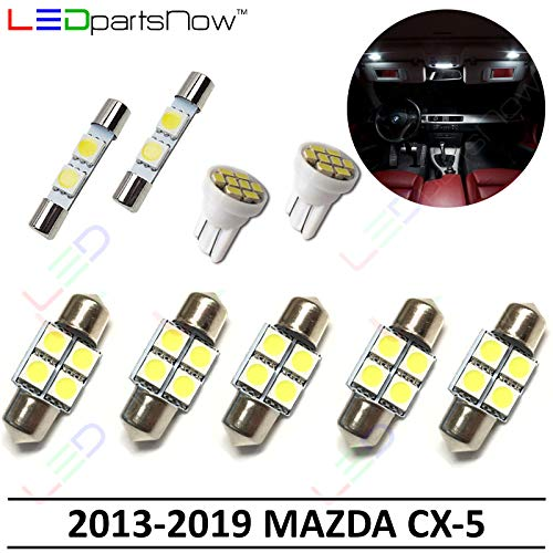 LEDpartsNow Interior LED Lights Replacement for 2013-2019 Mazda CX-5 CX5 Accessories Package Kit (9 Bulbs), WHITE