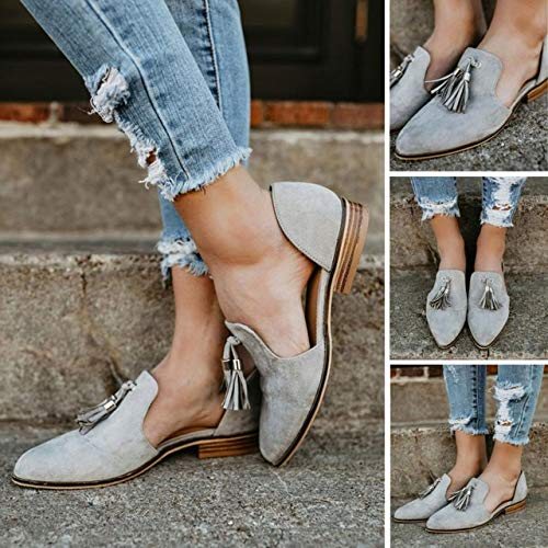 Fheaven (TM) Women Casual Loafers Shoes Ankle Solid Tassels Leather Romon Single Side Open Shoes (US:8.5, Gray)