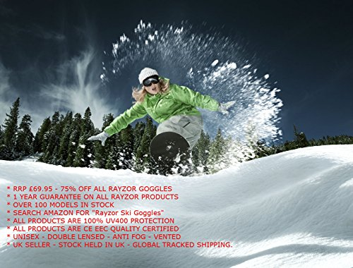 2012 2 Rayzor SnowBoard Gogg Professional Black Ski In 1 UV400 Sunglasses H6PrH