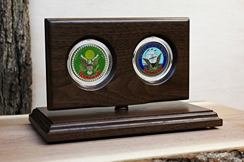 Military 2-coin Rotating Display Case - Natural Black Walnut Wood - For 45mm (1.75