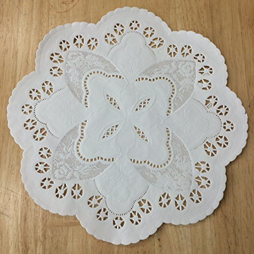 PEPPERLONELY 10 Inch White French Lace Paper Doilies 50 Count by PEPPERLONELY