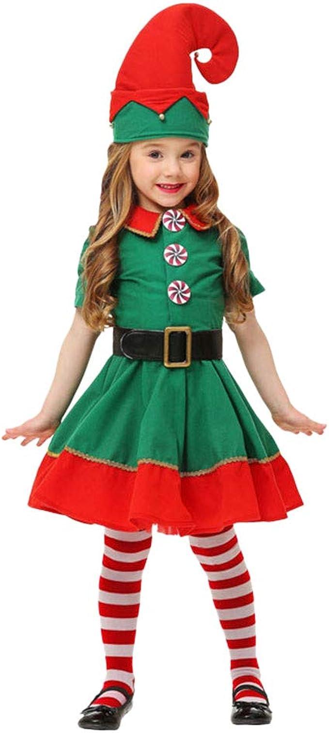 Fossen Disfraz Elfo Navidad Niñas Niños 2-16 Años Tops + ...