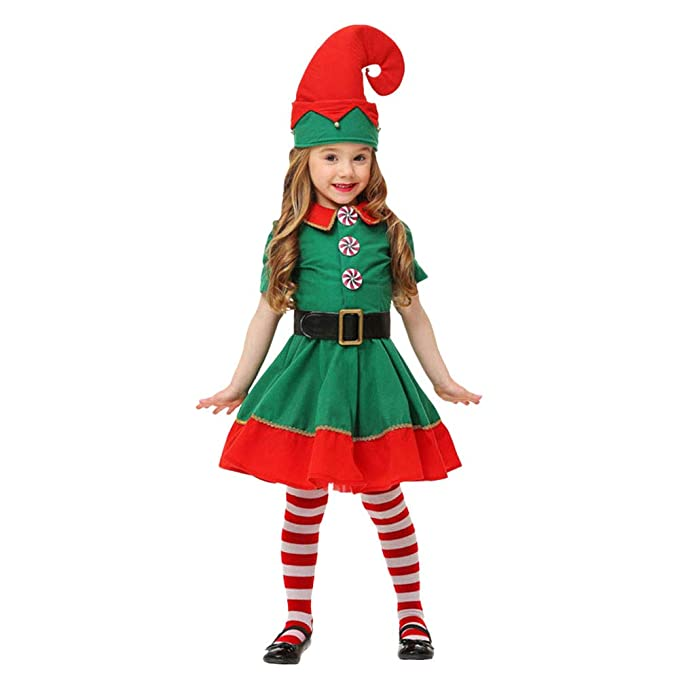 Fossen Disfraz Elfo Navidad Niñas Niños 2-16 Años Tops + Pantalones + Gorra +