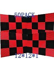 "50 Pack Ice Black&Red Acoustic Panels Studio Foam Wedges 1"" X 12"" X 12"" (50Pcs, Black&Red)"