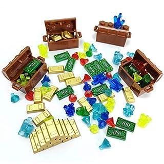 ZHX Treasure Accessories Set Building Blocks Bullion Money Gold Bar Jewelry Toy Parts Brick