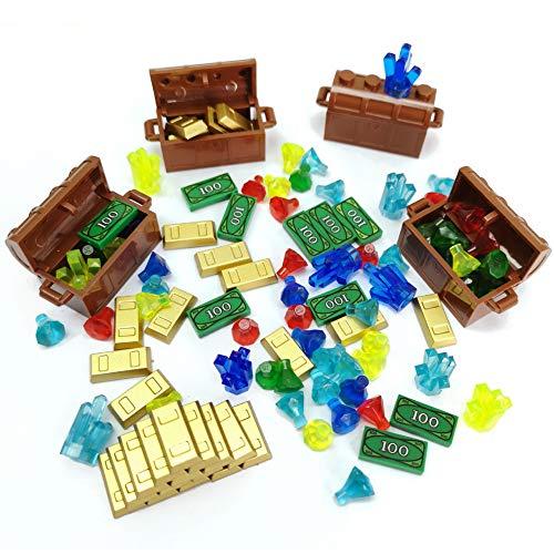(ZHX Treasure Accessories Set Building Blocks Bullion Money Gold Bar Jewelry Toy Parts Brick )