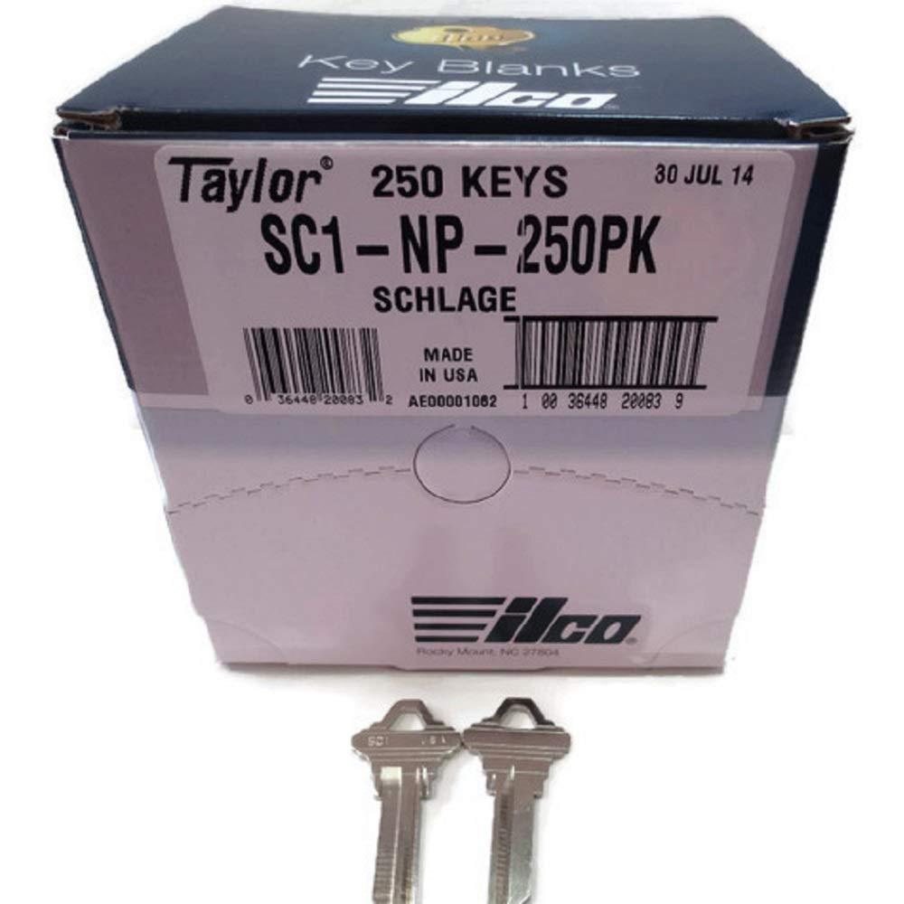MSPowerstrange Key Blanks for Locksmith / 250 Schlage SC1 / Nickel Plated/Made by Ilco