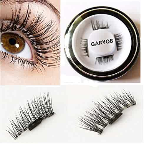 False Magnetic Eyelashes by GARYOB, 0.2mm Ultra-thin 3D Fiber for Natural Look, Cruelty Free, Reusable Perfect for Deep Set Eyes & Round Eyes, 1 Pair 4 Pieces