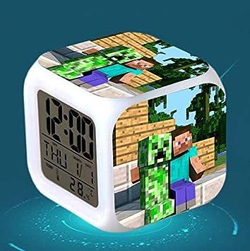 HOKUGA: Reloj Despertador Digital con luz LED para niños, diseño de Minecraft: Amazon.es: Hogar