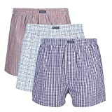 3PK Men's Woven Boxers, 100% Cotton Boxer Shorts for Men, Boxershorts with Button Fly, Underwear, Vanever Red Assorted M