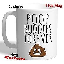 By Cus2mize Poo Poop Emoji Mug Cup Funny Rude Novelty Tea Coffee Mug Christmas Gift Idea poop buddies forever Mug