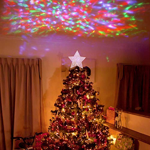 EAMBRITE 9quot Hollow Gold Star Christmas Tree Topper with Rotating Magic Ripple Projector for Crown Xmas Tree Topper Decoration