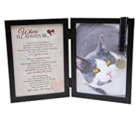 Where Ill Always Be Cat Memorial Picture Frame with Pet Tag and Pet Memorial Clip on Charm