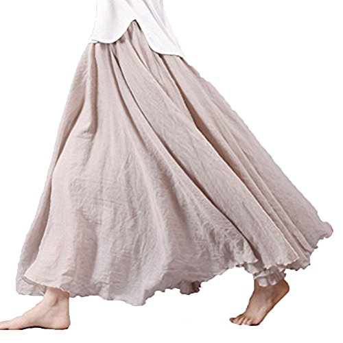 Asher Women's Bohemian Style Elastic Waist Band Cotton Linen Long Maxi Skirt Dress (95CM, Beige) (Stretch Linen Skirt)
