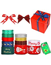KINBOM 12 Pieces 5 Yard Christmas Grosgrain Gift Wrapping Ribbons Bulk Assortment for Hair Bow Making, Wrapping, Crafts, Christmas Decor (Multisize)