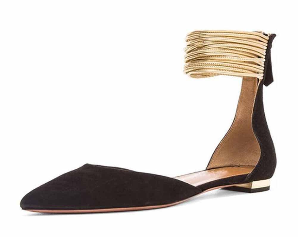 GLTER Mujer Puntiagudo Sandalias Planas 2017 Nuevo Anillo De Pie Correas D'orsay Zapatos ( Color : Black , Size : 41 ) 41|Black