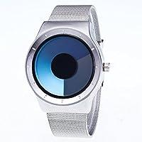 AutumnFall Mens Womens Unisex Metal Mesh Band Fashion Quartz Wrist Watch (Blue)
