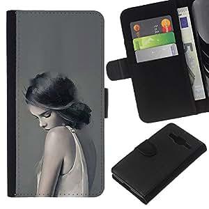 A-type (Woman Lady Sad Feminine Grey Deep) Colorida Impresión Funda Cuero Monedero Caja Bolsa Cubierta Caja Piel Card Slots Para Samsung Galaxy Core Prime
