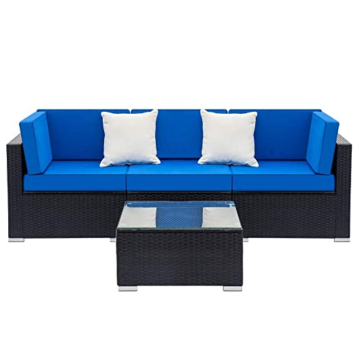 Guxing - Juego de sofá de ratán con 2 sofás de Esquina y 1 ...