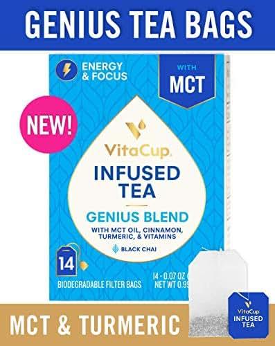 VitaCup Genius Blend Infused Tea 14 ct |Keto|Paleo|Whole 30| Chai Black Tea with MCT, Cinnamon, Turmeric & Vitamins Helps Boost Focus, Metabolism & Energy