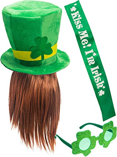 Chuangdi St Patrick's Day Shamrock Costume Accessory Set Party Favor Supplies Includes Hat, Beard, Glitter Glasses, Green Sash for Women or Men in Irish Green Supplies]()