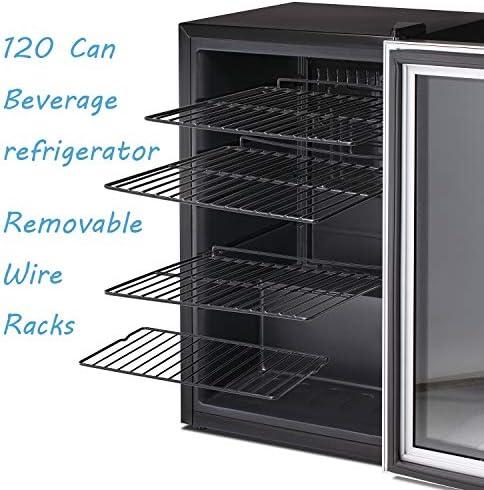Antarctic Star Beverage Refrigerator Cooler-145 Can Mini Fridge Clear Front Glass Door for Soda Beer Wine Stainless Steel Glass Door Small Drink Dispenser Machine Digital Display for Office,Home, Bar,4.5cu.toes