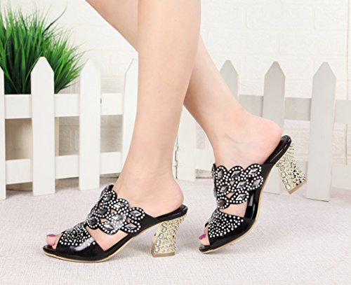 CRC Womens Shining Sparrow Slip-on Sparkle Rhinestone Microfiber Prom Wedding Party Sandals Slippers Chunky Heel-black gR3zn7
