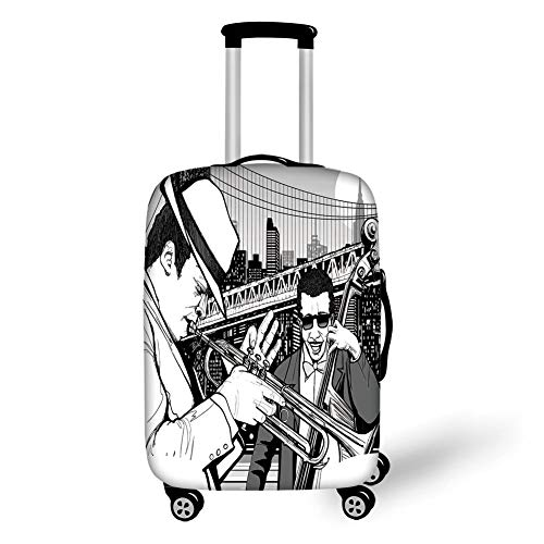 Travel Luggage Cover Suitcase Protector,Jazz Music Decor,Illustration of Jazz Band Playing the Blues in New York in the Moonlight Retro Decor,Black White,for TravelM 23.6x31.8Inch