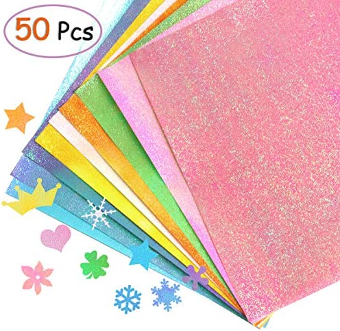 yalansmaiP 50 Sheets Glitter Origami Paper 10 Colors Sparkly Paper Shiny Rainbow Origami Paper Single Sided Square Folding Paper for DIY Crafts Gift Box Wrapping Scrapbook and Party Decor