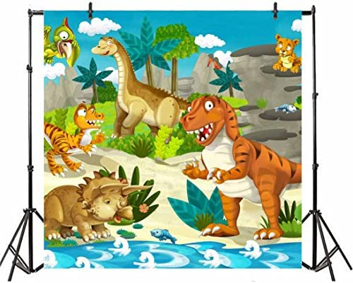 10x6.5ft Cute Cartoon Dinosaur Backdrop for Photography Riverside Jurassic Ancient Animals Dinos Foraging Scene Photo Background for Kids Birthday Party Events Decoration Video Drapes Wallpaper