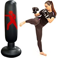 Inflatable Punching Bag Boxing Punch Bag Kid`s Kickboxing Bag Free- Standing Fitness Target Stand Tower Bag Free…