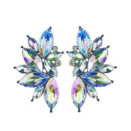 (Colorful Punk Rock Spiky Oversized Candy Rhinestone Studded Cluster Women Stud Earrings in Shades of Rainbow - Purple, Green, Blue, Pink, Yellow, Red, and Many More! (Aurora Borealis))