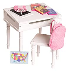 Show your dolls the wonder of education with the 18 Inch Doll Furniture Desk and Chair Set from Playtime by Eimmie. The doll desk and chair are the perfect size for any 14 to 18 inch dolls, including American Girl Dolls and Wellie Wishers, an...