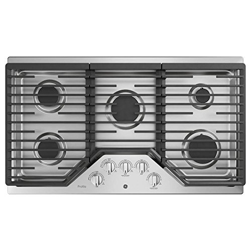 Ge Natural (GE Profile PGP7036SLSS 36 Inch Natural Gas Sealed Burner Style Cooktop with 5 Burners, ADA Compliant, Electronic Ignition in Stainless Steel)