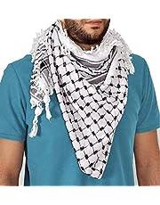 Traditional Black & White Arab Cafia Keffiyeh Middle Eastern Shemagh Scarf Wrap