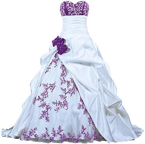 Gown White Taffeta Wedding - Zorayi Women's Sweetheart Embroidery Taffeta Ball Gown Wedding Dress White Purple Size 18