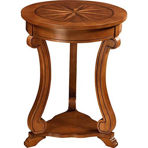 - XIAOYAN End Table Solid Wood Side Table End Table Small Round Table Mini Coffee Table, Walnut Color Multifunction
