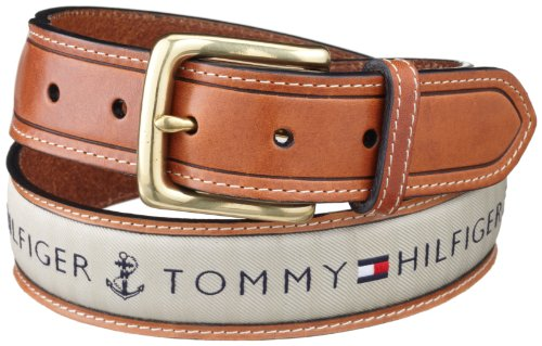 - Tommy Hilfiger Men's Ribbon Inlay Belt - Ribbon Fabric Design with Single Prong Buckle, Khaki, 38