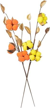 2 Piezas de Flores secas de algodón Ramas Florales Ramos de Boda Kapok Ramas de algodón Decoración de jardín en casa Artesanía de Bricolaje (Naranja, Amarillo): Amazon.es: Hogar