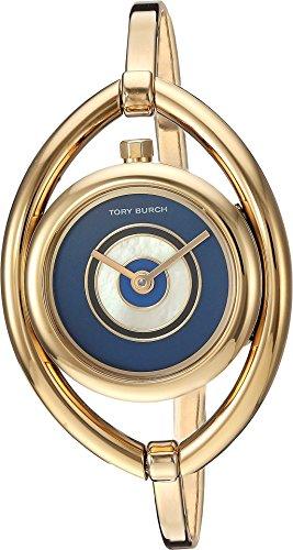 Tory Burch Women's The Evil Eye Bangle Watch, 24mm, Gold/Navy, One Size (Watch Burch Tory Gold)