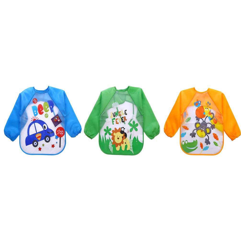 Yeelan 3 piezas Baberos para bebés con mangas Impermeable ...