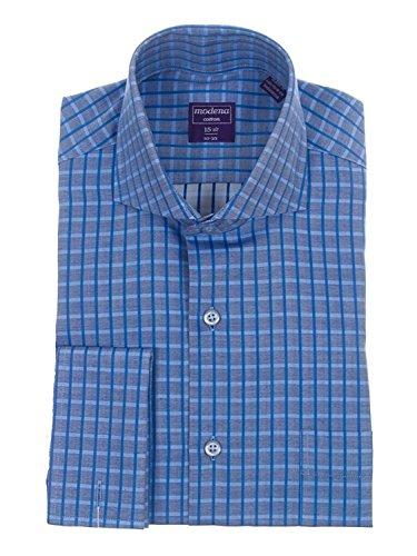 Classic Fit Blue Herringbone Plaid French Cuff Cotton Dress Shirt ()