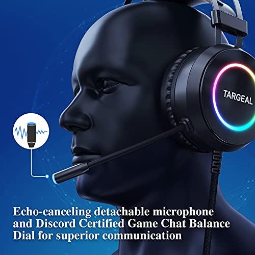 Targeal Cuffie gaming per PS4, Cuffie da gaming Suono Surround 7.1, Driver da 40 mm, Cuffie da gioco con microfono-cancellazione del rumore Cuffie over-ear con Luce RGB per PS5/Nintendo/Switch/PC/Mac