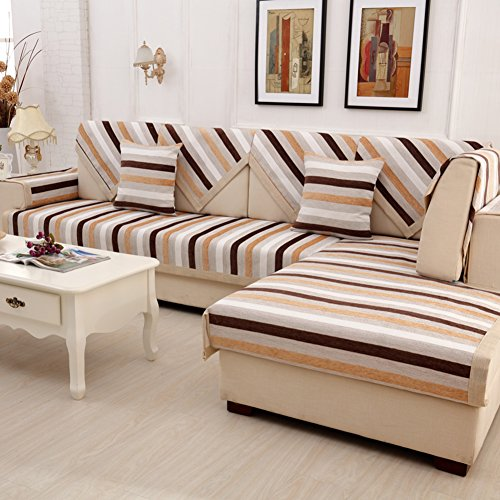 Wayward Anti-Slip Sofa slipcovers,Stripe Chenille Sofa Covers,Furniture Protector European Dust-Proof Couch Covers Luxury Sofa Cushioning Stain-Resistant Dust Cover-B 70x70cm(28x28inch)