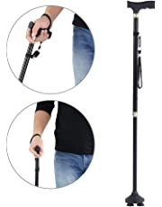 Fold Cane, Metal Walking Stick with T Handle Light Weight Folding Elderly Safety Walks Stick for Women and Men