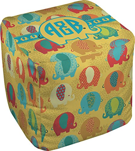 RNK Shops Cute Elephants Cube Pouf Ottoman - 13'' (Personalized) by RNK Shops