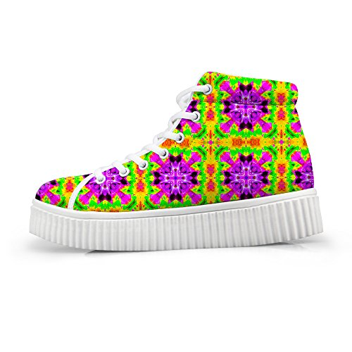 Sneakers Flower Top Floral Platform High Women HUGSIDEA Fashion Shoes I6qwS7U