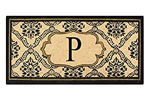 A1 HOME COLLECTIONS First Impression Doormat, Uriel Treated Coir, Monogrammed P(PT5001P)